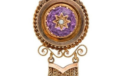 A Victorian Yellow Gold, Amethyst and Seed Pearl