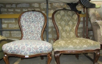 A Victorian spoon back drawing room chair with later upholst...
