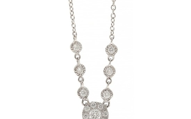 A diamond necklace set with numerous brilliant-cut diamonds weighing a total of app. 0.33 ct., mounted in 18k white gold. L. 42 cm.