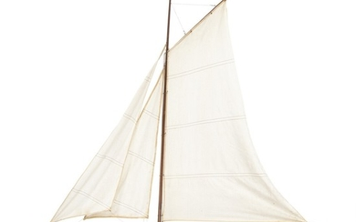 A hand built 20th century painted wood model of a sailing ship. With wooden stand. 20th century. H. excl. stand c. 105 cm. L. 92 cm.