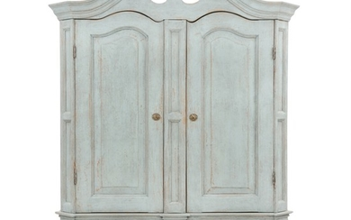 A painted large Baroque style cupboard with two panelled doors. Denmark, early 20th century. H. 220 cm. W. 170 cm. D. 65 cm.