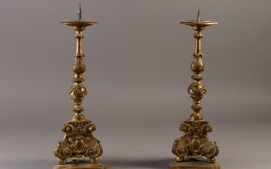 A pair of 18th century Italian gilt baroque candlesticks (2)