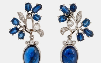 A pair of CF Carlman platinum earrings set with cabochon-cut and faceted sapphires