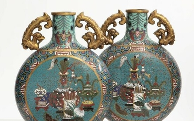 A pair of Chinese cloisonne enamel moon flasks