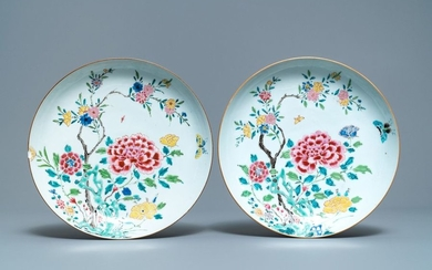 A pair of Chinese famille rose dishes with...