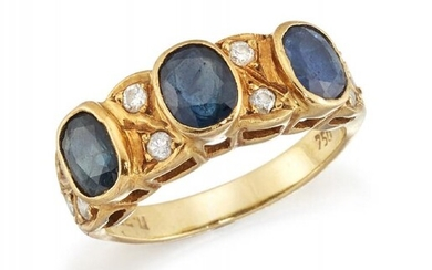 A sapphire and diamond half-hoop ring, composed...