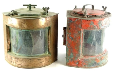 A similar copper and a red painted ships lamp. (AF, 2)`