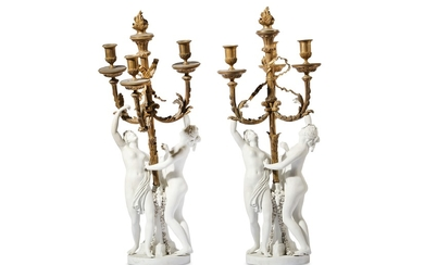 AFTER FALCONET: A PAIR OF 19TH CENTURY SEVRES PORCELAIN AND GILT BRONZE MOUNTED FIGURAL CAND
