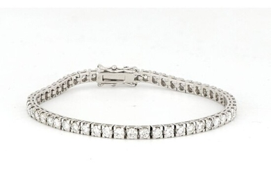 AIG Certificate - No Reserve Price - 18 kt. White gold - Bracelet - 4.86 ct Diamond
