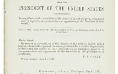 (AMERICAN JUDAICA). Message from the President of the United...
