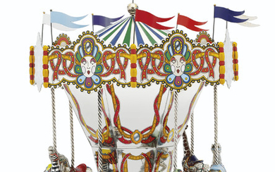 AN AMERICAN PARCEL-GILT SILVER AND ENAMEL MUSICAL CAROUSEL, MARK OF TIFFANY & CO., NEW YORK, CIRCA 1990, DESIGNED BY GENE MOORE