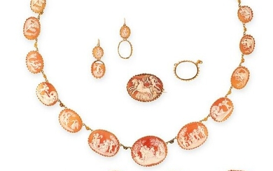AN ANTIQUE CAMEO SUITE in yellow gold, comprising of