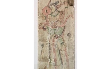AN ORIENTAL WOODEN HAND PAINTED PANEL Goddess within stylise...