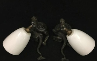Albert CHEURET. Pair of silver plated bronze sconces...