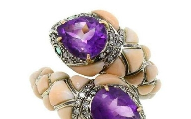 Amethyst Corals Diamond Emerald Snake Gold and Silver