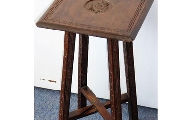 An early/mid-19th century walnut military campaign table; th...
