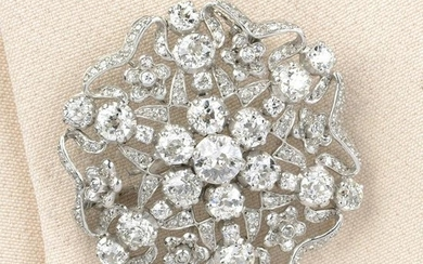 An old and single-cut diamond openwork floral brooch.