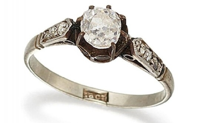 An old-cut diamond single stone ring, the...