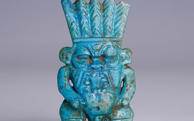 Ancient Egyptian Faience Large Bes Amulet of Exceptional Quality