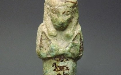 Ancient Egyptian FaienceGreen Glazed Ushabti for a lady called Isis(///)With Clear Hieroglyphs To Body - 122mm height