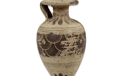 Ancient Greek Pottery Piriformed aryballos with flakes decoration - 97×55×0 mm - (1)