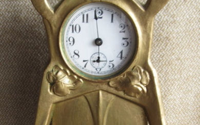 Antique Art Nouveau Table Clock Golden Metal 17 cm...