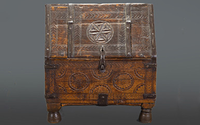 Antique Basque style carved wood casket with iron...