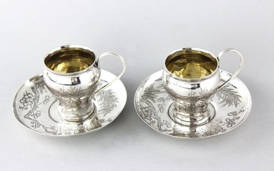 Antique Chinese pair of cup and saucer - .900 silver - Wang Hing- China - Late 19th/early 20th century