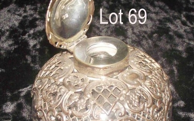 Antique Silver topped glass inkwell heavy glass inkwell with...