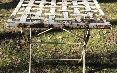 Antique Wrought Iron Woven Side Table