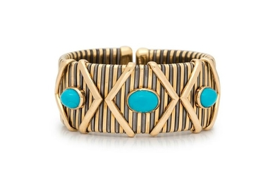 BICOLOR GOLD AND TURQUOISE CUFF BRACELET