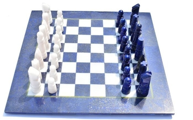Beautiful Chess Table with Complete Players Lapis Lazuli and White Marble - 13×300×300 mm - 3600 g - (33)