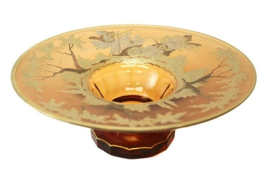 Bohemian Amber Art Glass Centerpiece Bowl, c1900