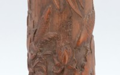 "CHINESE CARVED BAMBOO BRUSH POT Decoration of carp swimming in a lotus-filled ground. Signed. Height 11""."