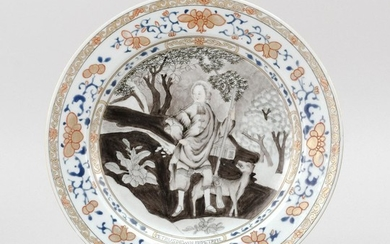 """CHINESE EXPORT PORCELAIN PLATE Jesuit-style decoration of a man and a dog in a landscape. Diameter 8.8""""."""