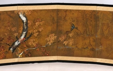 CHINESE HAND PAINTED 4 PANEL SCREEN