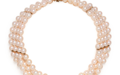 CULTURED PEARL MULTISTRAND CHOKER NECKLACE