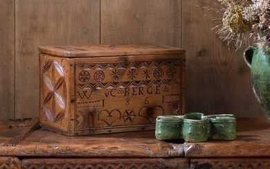 Cembro pine box carved on three sides and...