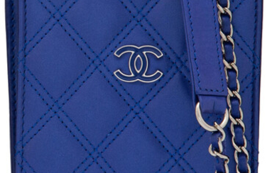 Chanel Blue Quilted Lambskin Leather Phone Holder Crossbody Bag...