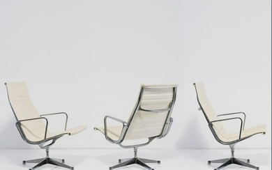 Charles Eames, Set of three 'Aluminum Group' armchairs
