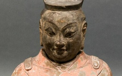 Chinese Han Dynasty Polychrome Pottery Bust