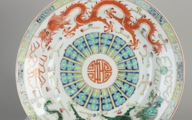Chinese porcelain dish with dragon decoration +