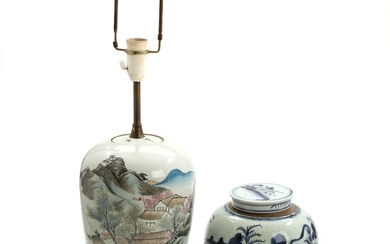 NOT SOLD. Chinese porcelain lid jar and table lamp, decorated with landscapes. 19th-20th century. LId...