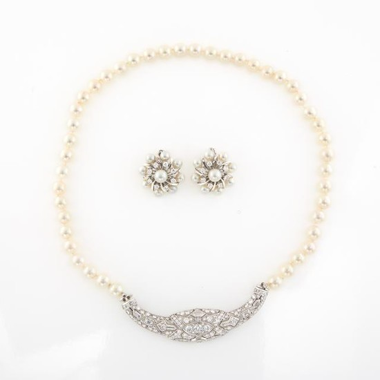 Cultured Pearl, Platinum and Diamond Necklace and Pair of White Gold, Cultured Pearl and Diamond Earclips
