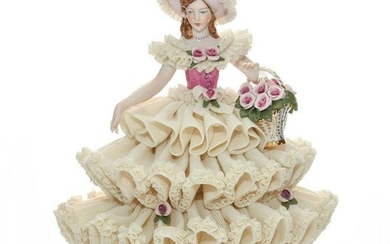 DRESDEN LACE FIGURINE, LADY WITH BASKET OF FLOWERS