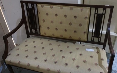 Edwardian mahogany inlaid two seat settee with upholstered s...