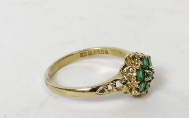 Emerald and diamond cluster ring, probably 18ct gold. Size '...