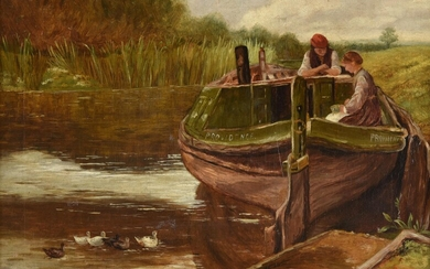 English School (19th century), Figures in a boat, with ducks on the river