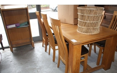 Extending Oak Dining Table 6' x 3' and Six Chairs (seats di...