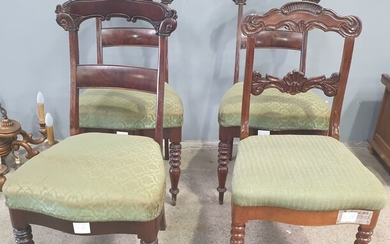 FOUR MAHOGANY CONTINENTAL DINING CHAIRS